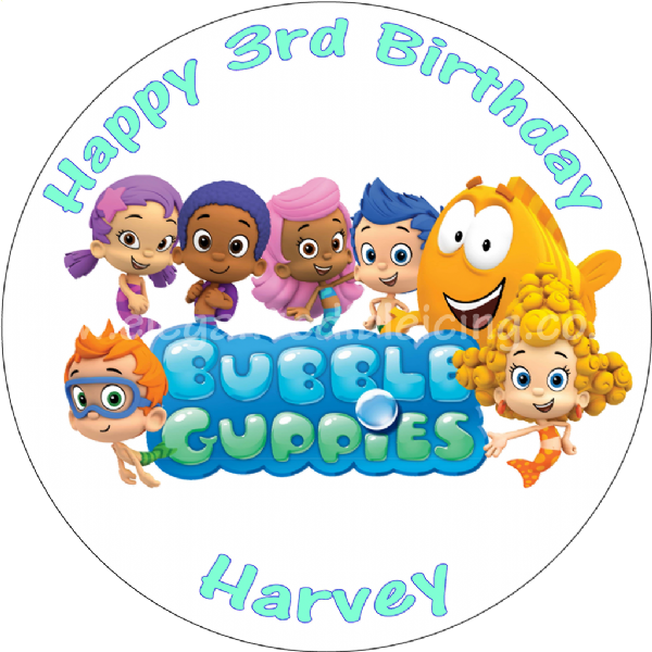 BUBBLE GUPPIES EDIBLE CAKE TOPPER ROUND PERSONALISED BIRTHDAY CAKE DECORATION